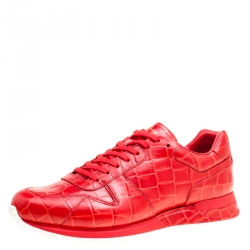 26b5d183fdc4 Louis Vuitton Red Croc Embossed Leather Run Away Platform Sneakers Size 41.5