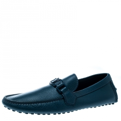 2412664183d7 Louis Vuitton Dark Turquoise Leather Hockenheim Loafers Size 41