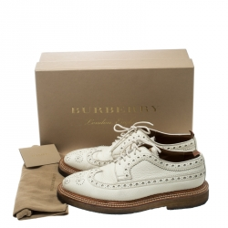 Burberry Cream Brogue Leather Burroughs Lace Up Derby Size 42