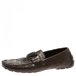 86c9df298817 Louis Vuitton Brown Crocodile Leather Monte Carlo Loafers Size 41.5