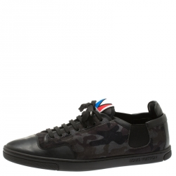 f37a47929a3a Louis Vuitton Camouflage Print Suede And Black Leather Slalom Low Top Sneakers  Size 42