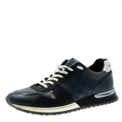 8deffb062 Louis Vuitton Black Damier Fabric And Leather Trim Run Away Lace Up Sneakers  Size 41.5