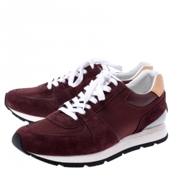 Louis Vuitton Burgundy Mesh, Leather and Suede Abbesses Lace Up Sneakers Size 41