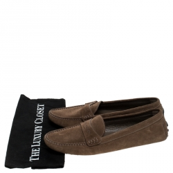 Louis Vuitton Brown Suede Slip On Loafers Size 41