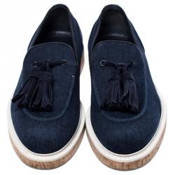 Louis Vuitton Blue Denim Tassel Slip On Loafers Size 42
