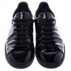 Louis Vuitton Black Patent Leather Frontrow Low Top Lace Up Sneakers Size 39.5