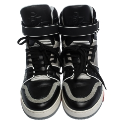 Louis Vuitton Black/Grey Leather LV Trainer High Top Sneakers Size 43
