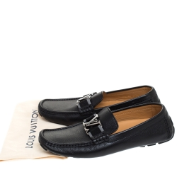 Louis Vuitton Black Leather Monte Carlo Loafers Size 41.5