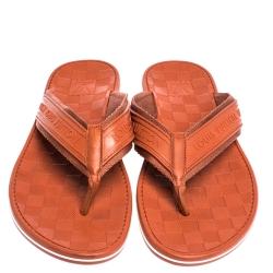 Louis Vuitton Orange Canvas and Rubber Thong Sandals Size 44