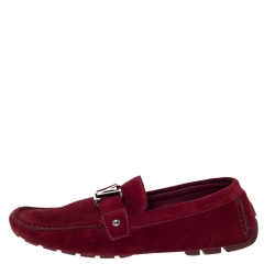 Louis Vuitton Red Suede Monte Carlo Loafers Size 45