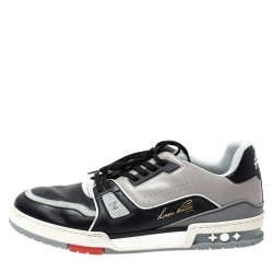 Louis Vuitton Black/Grey Leather LV Trainer Sneakers Size 44