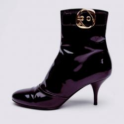 Louis Vuitton Purple Metallic Leather Ankle Boots Size 38.5