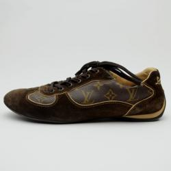 Louis Vuitton Brown Offshore Sneakers In Mix Patchwork Size 43