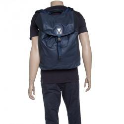 حقيبة ظهر لوي فيتون V لاين بلس جلد ونايون سوداء وزرقاء