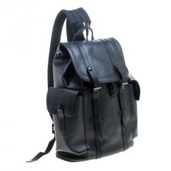 حقيبة ظهر لوي فيتون كريستوفر جلد إيبي سوداء PM