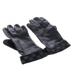 Louis Vuitton Black Leather Damier Graphite Print Gloves L