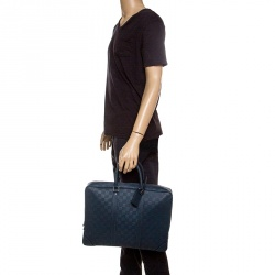 4b4425642de4 Louis Vuitton Blue Damier Infini Leather Porte Documents Voyage Briefcase