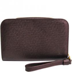 4e2166f2e723 Louis Vuitton Burgundy Taiga Leather Pochette Baikal Clutch Bag