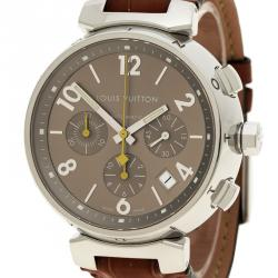 Louis Vuitton Brown Stainless Steel Tambour Q1122 Chronograph Men's Wristwatch 42 mm