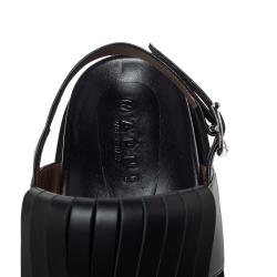 Marni Black Leather Fringe Fussbett Sandals Size 41