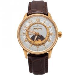 Maurice Lacroix Silver 18K Rose Gold Masterpiece Phase De Lune Men's Watch 40MM