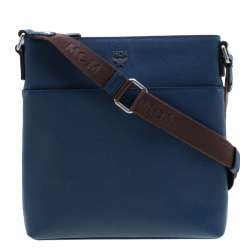 c95cc6fbeea MCM Blue Leather Ottamar Messenger Bag