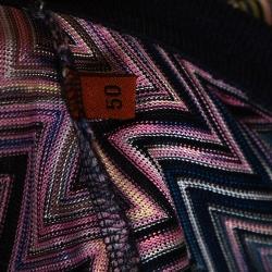 Missoni Mulitcolor Chevron Knit Contrast Collar Polo T Shirt L
