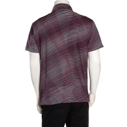 Missoni Red & Navy Blue Striped Cotton Polo T-Shirt XL
