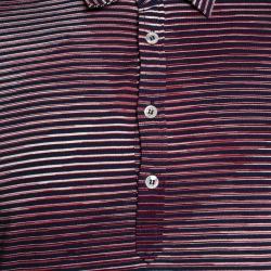 Missoni Red & Navy Blue Striped Cotton Polo T-Shirt XL