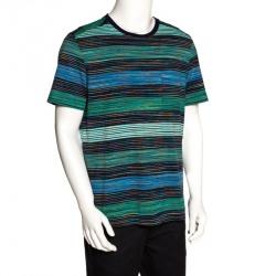 Missoni Blue & Green Striped Cotton Round Neck T-Shirt L