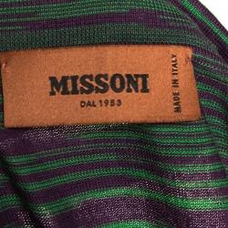 Missoni Green & Purple Intarsia Knit Polo T Shirt L
