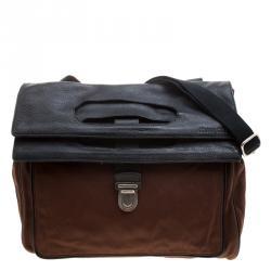 Miu Miu Brown/Black Nylon and Leather Messenger Bag