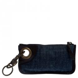 Miu Miu Blue/Brown Denim and Leather Zipped Coin Purse