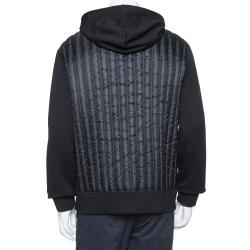 Moncler Black Knit Puffer Back Detail Hoodie XL
