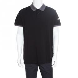 a2bac9d4 Moncler Black Contrast Trim Detail Honeycomb Knit Polo T-Shirt XXL