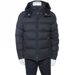 Moncler Grey Wool Quilted Down Hooded Montgenevre Jacket XXL