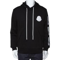 Moncler Black Maglia Logo Appliqued Cotton Hooded Sweatshirt L