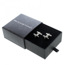 Montblanc Onyx Inlay Silver Tone Oval Cufflinks
