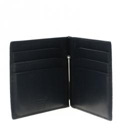 d6a46f94e1e95 Mont Blanc Grey Croc Embossed Leather 6CC Money Clip Bifold Wallet