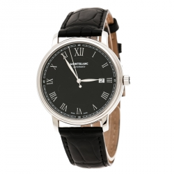 Montblanc Black Stainless Steel Tradition 7334 Men's Wristwatch 40 mm