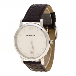 Montblanc Silver Grey Stainless Steel Star Classique 108770 Men's Wristwatch 39 mm