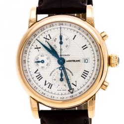 Montblanc Silver 18K Rose Gold Star GMT Chronograph 101638 Men's Wristwatch 42 mm