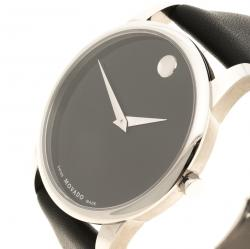 Movado Black Stainless Steel Museum Men's Wristwatch 40 mm