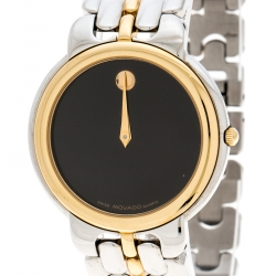 Movado Black Two Tone Stainless Steel Museum Men's Wristwatch 34MM