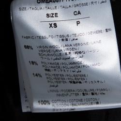 Off-White Black Wool Brushed Print Varsity Bomber Jacket XS