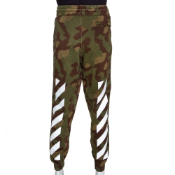 Off-White Military Green Cotton Diagonal Camouflage Joggers S