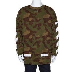 Off-White Green Diagonal Camouflage Print Cotton Sweatshirt S