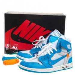 Nike x Off White Blue Leather/Mesh Air Jordan 1 Retro High Top Sneakers Size 42