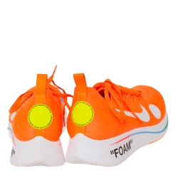 Nike X Off-White Orange Cotton Knit Zoom Fly Mercurial Sneakers Size 44.5