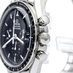 Omega Black Stainless Steel Speedmaster Professional Moonwatch Men's Wristwatch 42MM